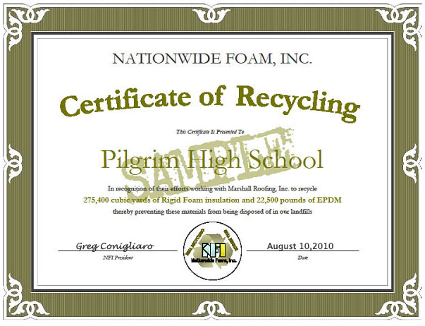 Example Certificate of Recycling